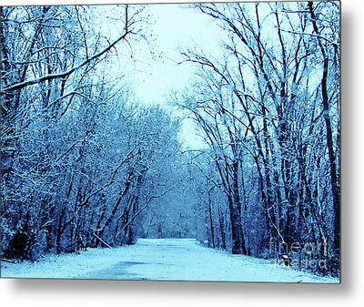 Wisconsin Frosty Road In Winter Ice Metal Print