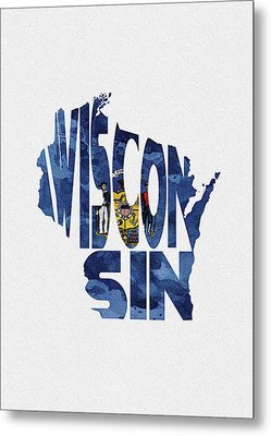 Wisconsin Typographic Map Flag Metal Print