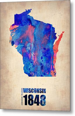 Wisconsin Watercolor Map Metal Print by Naxart Studio