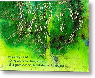 Wisdom Knowledge And Happiness Metal Print by Anne Duke