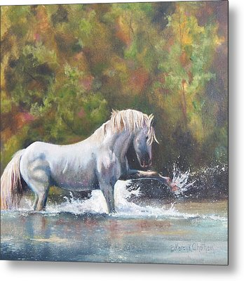Metal Print featuring the painting Wisdom Of The Wild by Karen Kennedy Chatham