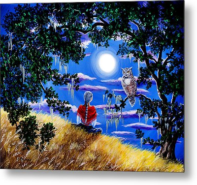 Wise Woman And Owl Full Moon Meditation Metal Print by Laura Iverson