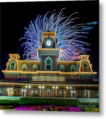 Wishes Over Magic Kingdom Train Station. Metal Print