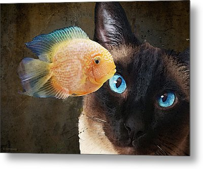 Wishful Thinking 2 - Siamese Cat Art - Sharon Cummings Metal Print by Sharon Cummings