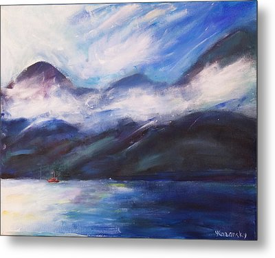 Metal Print featuring the painting Wispy Clouds by Yulia Kazansky