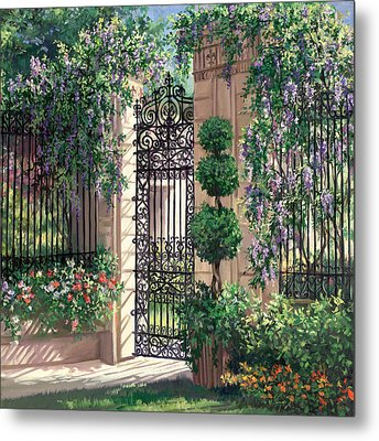 Wisteria Gate Metal Print by Laurie Hein
