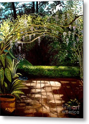 Metal Print featuring the painting Wisteria Shadows by Elizabeth Robinette Tyndall