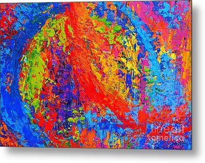 Within Circles - Colorful Modern Abstract Painting Palette Knife Work Metal Print by Patricia Awapara