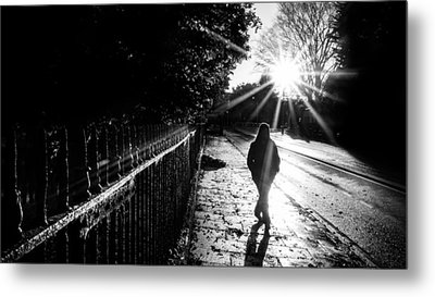 With The Sun Behind - Dublin, Ireland - Black And White Street Photography Metal Print