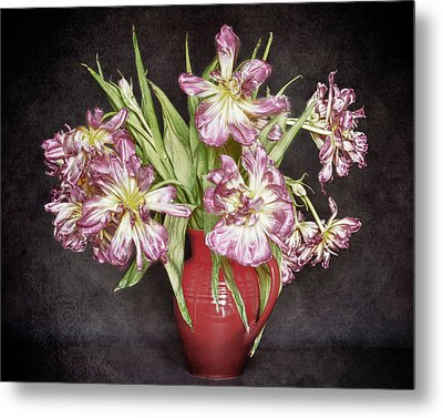 Metal Print featuring the photograph Withered Tulips by Stefan Nielsen
