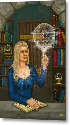 Wizards Library Metal Print by Roz Eve