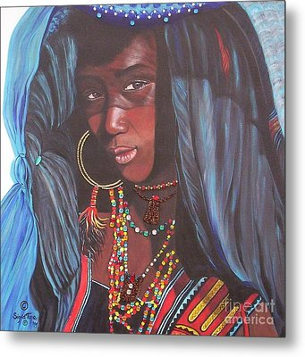 Metal Print featuring the painting Wodaabe Girl by Sigrid Tune