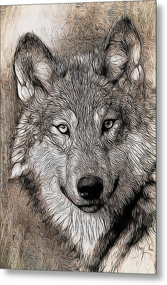 Metal Print featuring the digital art Wolf  by Aaron Berg