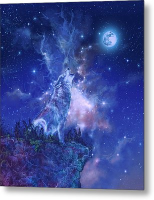 Wolf And Sky Blue 2 Metal Print