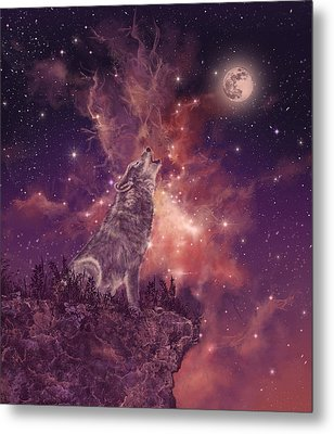 Wolf And Sky Red Metal Print