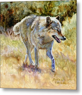Metal Print featuring the painting Wolf by Bonnie Rinier