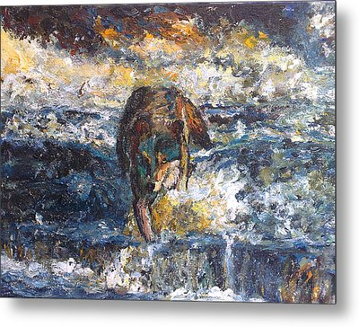 Metal Print featuring the painting Wolf Crossing The River by Koro Arandia