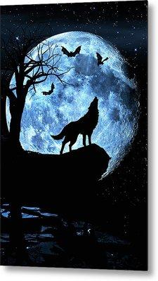 Wolf Howling At Full Moon With Bats Metal Print