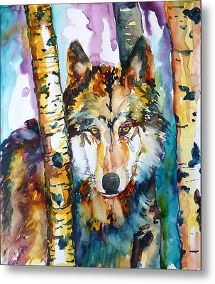 Metal Print featuring the painting Wolf In Aspen by P Maure Bausch