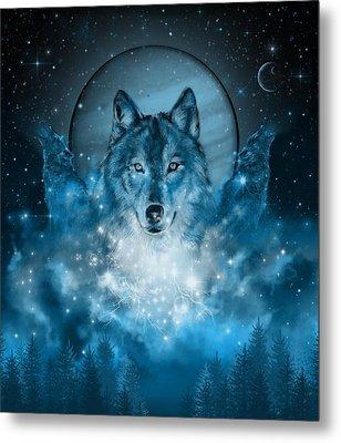Wolf In Blue Metal Print
