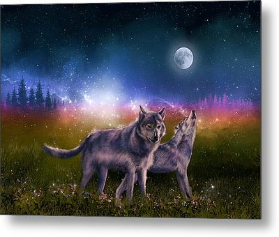 Wolf In The Moonlight Metal Print
