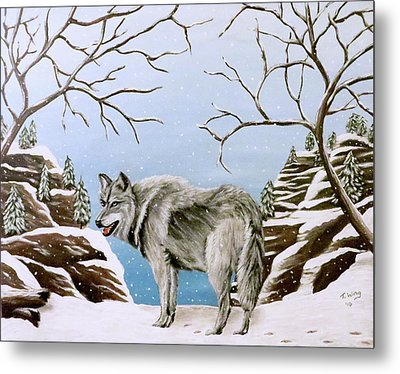 Metal Print featuring the painting Wolf In Winter by Teresa Wing