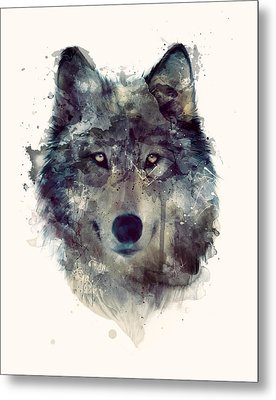 Wolf // Persevere Metal Print by Amy Hamilton