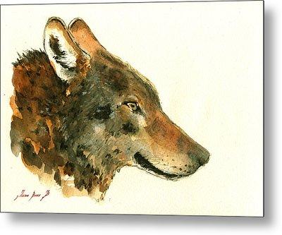 Wolf Portrait Metal Print by Juan  Bosco