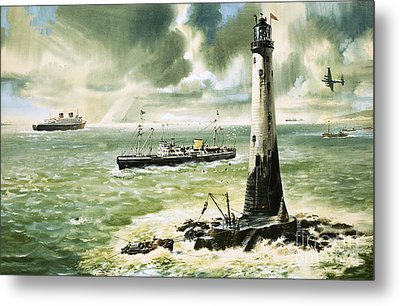 Wolf Rock Lighthouse At Land's End Metal Print by Wilf Hardy
