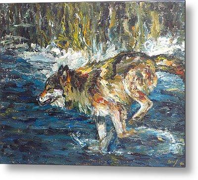 Metal Print featuring the painting Wolf Running by Koro Arandia