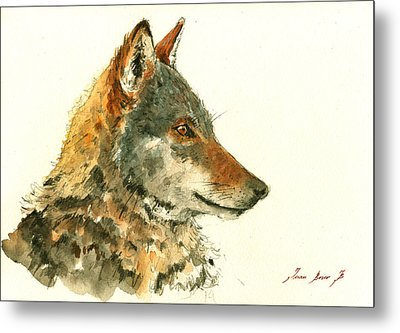 Wolf Watercolor Metal Print by Juan  Bosco