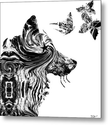 Wolf With Butterflies Metal Print by Abstract Angel Artist Stephen K