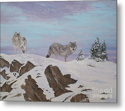 Wolves At Twilight Metal Print