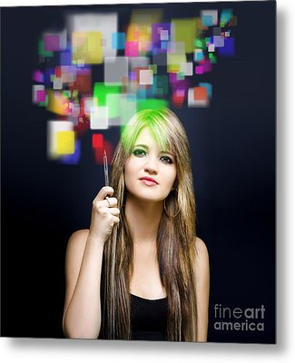 Woman Accessing Digital Media With Touch Screen Metal Print by Jorgo Photography - Wall Art Gallery