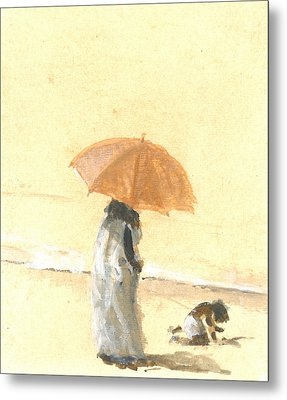 Woman And Child On Beach Metal Print by Lincoln Seligman
