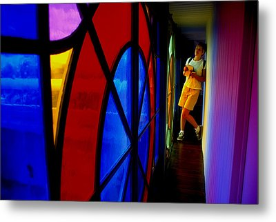 Woman And Stained Glass Metal Print by Carl Purcell