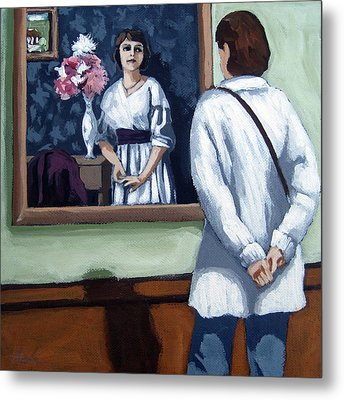 Woman At Art Museum Figurative Painting Metal Print by Linda Apple
