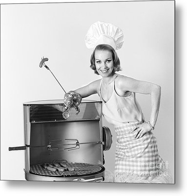 Woman At Grill, C.1960s Metal Print by H. Armstrong Roberts/ClassicStock