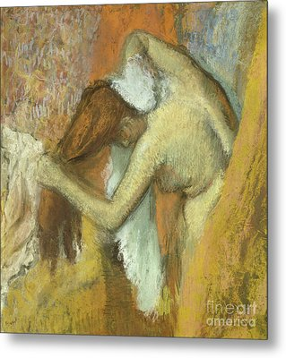 Woman At Her Toilette Metal Print by Edgar Degas