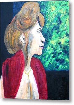 Metal Print featuring the painting Woman At The Window by Esther Newman-Cohen