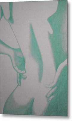 Metal Print featuring the drawing Woman Back Green by Fanny Diaz