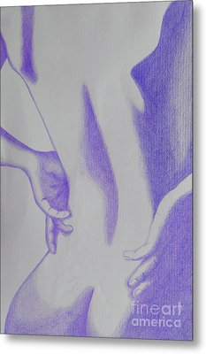 Woman Back Purple Metal Print by Fanny Diaz