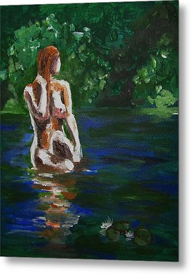 Woman Bathing In Lake Metal Print by Regina WARRINER