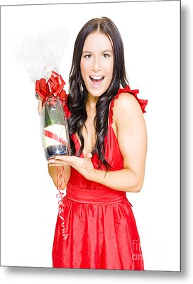 Woman Celebrating Success With Champagne Bottle Metal Print by Jorgo Photography - Wall Art Gallery