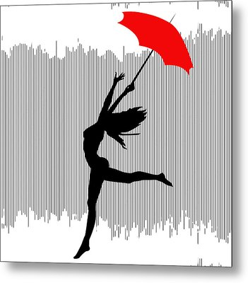 Woman Dancing In The Rain With Red Umbrella Metal Print by Serena King