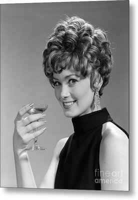 Woman Drinking Champagne, C.1960s Metal Print by H. Armstrong Roberts/ClassicStock
