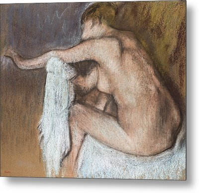 Woman Drying Her Arm Metal Print by Edgar Degas