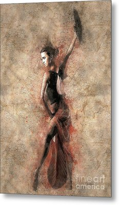Woman Flamenco Dancer Metal Print