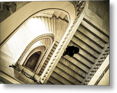 Woman Going Down At Staircase Metal Print
