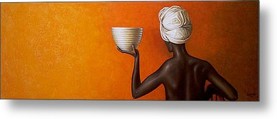 Woman Holding A Bowl Metal Print by Horacio Cardozo